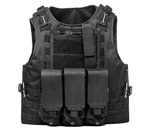 (Invenko Tactical Airsoft Paintball Combat Military Swat Assault Army Shooting Hunting Outdoor Molle Police Vest (BLACK))
