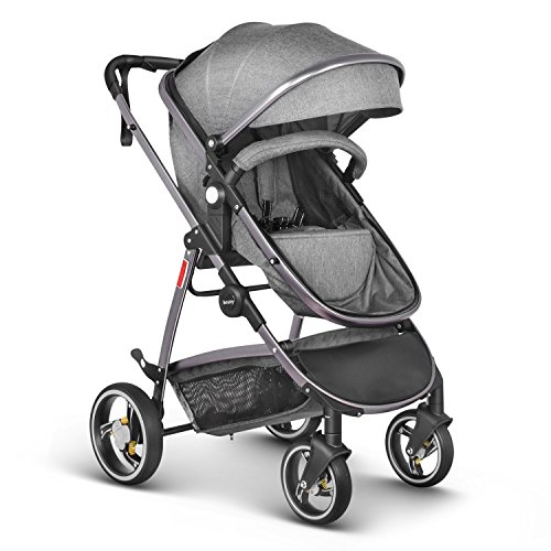 Besrey Baby Stroller Baby Carriage for Newborn Baby Pram Infant Strollers Luxury 2 in 1 Gray