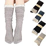 RRiody RRiody 4 Pairs Women Crochet Lace Trim Cotton Knit Footed Leg Boot Knee High Stocking (4 pairs)