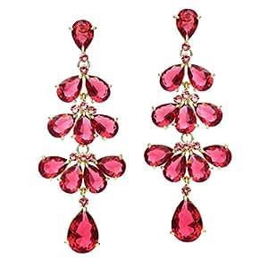 NEOGLORY Pendientes Largos con Circonitas Rosa y Cristales SWAROVSKI Hipoalergénico Joya Original Regalo Mujer Chica