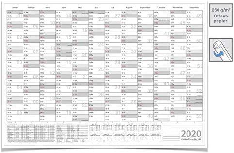 Mega XXL WANDKALENDER/2020, DIN B0 140,0 X 100,0 CM MIT FERIENANGABEN GEROLLT grau Premiumqualität