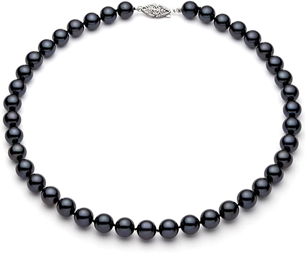 14K oro blanco 7,5–8mm negro Akoya Agua Salada Cultivadas Collar De Perlas AA + calidad, 16