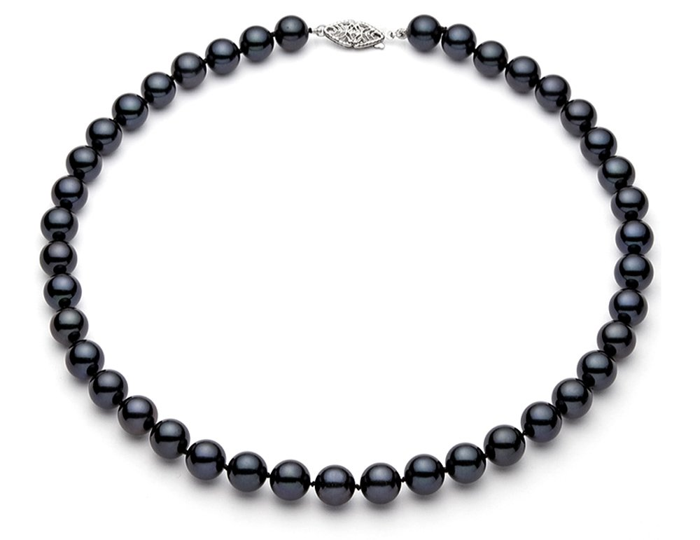 7.5-8mm 14k White Gold Black Akoya Saltwater Cultured Pearl Necklace AA+ Quality, 16''