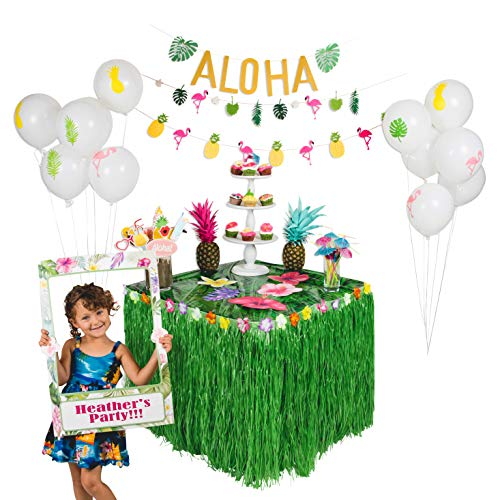 90 PCS! Luau Hawaiian Party Decorations Kit & Complete Set, Moana Party, Photo Booth Frame & Props, Grass Table Skirt, Flamingo Pineapple Balloons & Banners, Drink Umbrella Straws, Luau & -