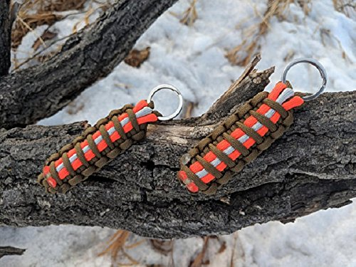 Firefighter Bunker Gear Paracord Key Chains - Orange/Khaki