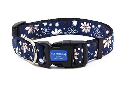 BIG SMILE PAW Nylon Dog Collar Adjustable,Flower Theme (Eight Petal, M)