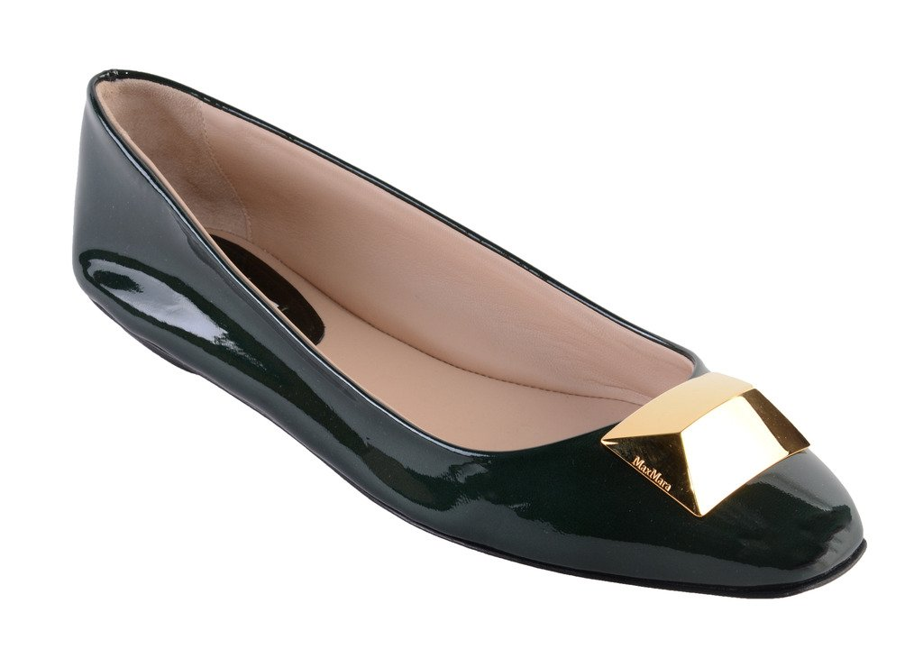 Max Mara Women's Ballet Flats - Soft Italian Patent Leather - Great for Professional & Evening Wear (10, Green)