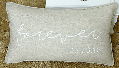 DecorHouzz Forever Personalized Pillow cover, Embroidered Pillow cases, Couple, Anniversary, Newly Wed, Love, Customized Gift