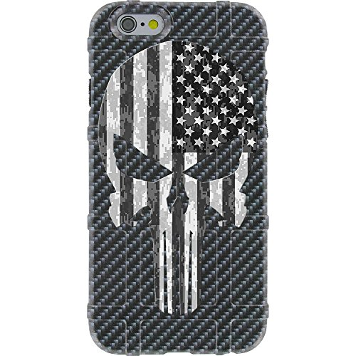 EGO Tactical Limited Edition Design UV-Printed onto a MAG485 Field Case Compatible with Apple iPhone 6 + Plus/iPhone 6s + Plus Carbon Fiber, Punisher BW USA Flag ()