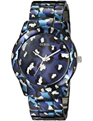 GUESS Womens U0425L1 Iconic Blue Watch with Animal Print Bracelet & Dial