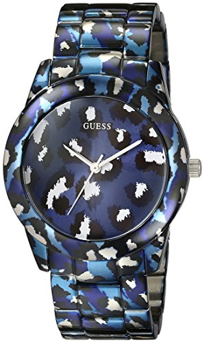 GUESS Women's U0425L1 Iconic Blue Watch with Animal Print Bracelet & Dial (Guess Watches For Women Blue)
