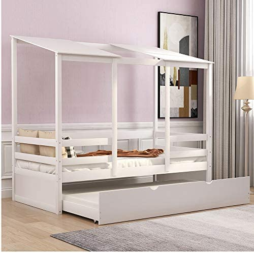 Beach Kids Bed with Trundle, Rockjame Twin Bed Solid Pine and MDF Wood Frames, Childlike and Unique Appearance, Suitable for Boys and Girls White