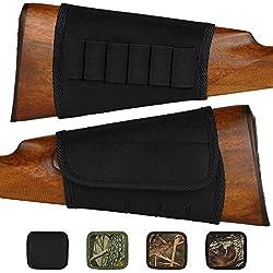 BronzeDog Adjustable Buttstock Rifle Cartridge Ammo Holder 12 16 Gauge Nylon Camo Shell Holder Hunting Rest Pouch Bag Stock Right Handed Shotgun (Plain Black)