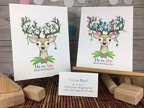 Christmas Gender Reveal Fingerprint Reindeer Guestbook Alternativ for $<!--$17.85-->