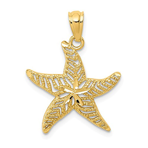 14k Yellow Gold Filigree Starfish Pendant Charm Necklace Sea Life Fine Jewelry Gifts For Women For Her ()
