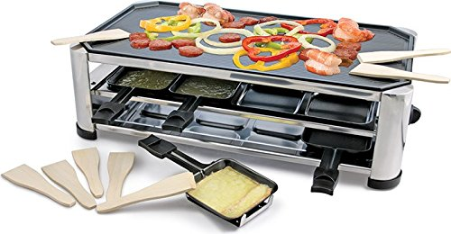 Swissmar KF-77089 Stainless Steel 8-Person Raclette Party Grill with Reversible Cast Aluminum Grill Plate/ Crepe Top (Raclette Trays compare prices)