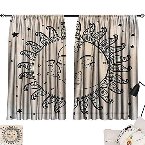 Sketchy Simple Curtain Sun and Moon Celestial Figures Composition Day`s Cycle Mystical Art Inspiration Privacy Protection (Celestial Fireplace Screen)