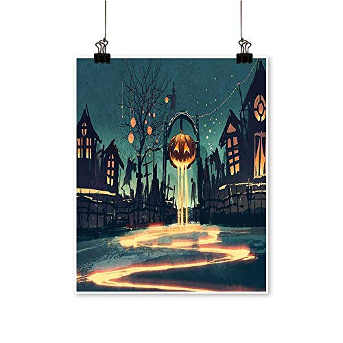 Rich in colorHouse Halloween Theme Night Pumpkin and Haunted House Ghost Town Artful Teal Print Decor for Living Room,24