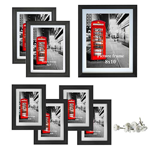 Amazing Roo Picture Frame 7 Piece with Glass Front Multi Photo Frames Gallery Set Dispaly for Wall or Tabletop, One 8x10, Two 5x7, Four -