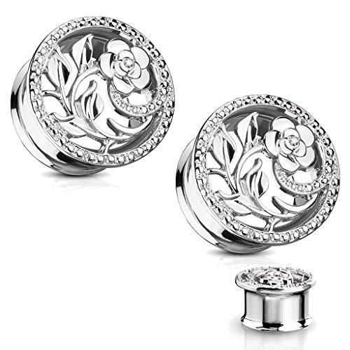 MoBody One Pair Ear Gauge Plugs CZ Centered Flower and Vines Cut Out Surgical Steel Double Flared Ear Stretching Tunnel (Silver-Tone, 2G (6mm))