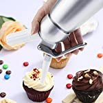 Professional Whipped Cream Dispenser Large 500ml/1 Pint Capacity Canister with 3 Various Nozzles, Cleaning Brush 9 HOME OR PROFESSIONAL: No more hand cramps from whipping, this whipped cream dispenser does all the work for you - just put a nitrous oxide cartridge (sold separately) into the dispenser, fill with heavy cream, screw the top and you are in business, an ideal whipped cream maker for home or professional use. DURABILITY AND SAFETY: The whipped cream dispenser's all-aluminum body and head are durable and safety to withstand daily use. The matte aluminum finish looks classic and provides a secure grip. PROFESSIONAL-QUALITY CREAM WHIPPER: Made of high quality commercial grade aluminum with stainless steel piston and reinforced aluminum threads for dispensing pretty clouds of whipped cream with different designs onto ice cream, cakes, pies, puddings and more.
