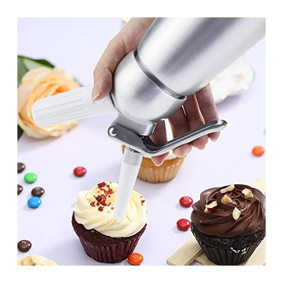 Professional Whipped Cream Dispenser Large 500ml/1 Pint Capacity Canister with 3 Various Nozzles, Cleaning Brush 3 HOME OR PROFESSIONAL: No more hand cramps from whipping, this whipped cream dispenser does all the work for you - just put a nitrous oxide cartridge (sold separately) into the dispenser, fill with heavy cream, screw the top and you are in business, an ideal whipped cream maker for home or professional use. DURABILITY AND SAFETY: The whipped cream dispenser's all-aluminum body and head are durable and safety to withstand daily use. The matte aluminum finish looks classic and provides a secure grip. PROFESSIONAL-QUALITY CREAM WHIPPER: Made of high quality commercial grade aluminum with stainless steel piston and reinforced aluminum threads for dispensing pretty clouds of whipped cream with different designs onto ice cream, cakes, pies, puddings and more.