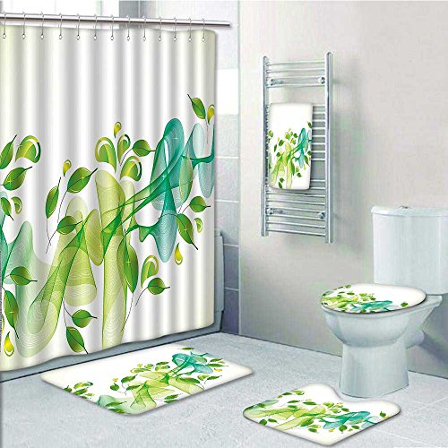 aolankaili 5-piece Bathroom Set-Includes Shower Curtain Liner, Water touch Artistic Details Green TealDecorate the bathroom(Large size) 80%OFF