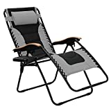 PHI VILLA Oversize XL Padded Zero Gravity Lounge Chair Patio Adjustable Recliner Wooden Armrest with Cup Holder, Grey