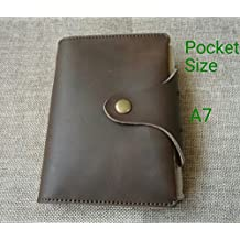 6 Ring Leather Journal, Refillable Diary Organizer Genuine Leather A7 Pocket Size Brown Color