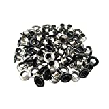 Amanaote 5mm Internal Hole Diameter Matte Black Eyelets Grommets with Washer Self Backing Pack of 200 Sets