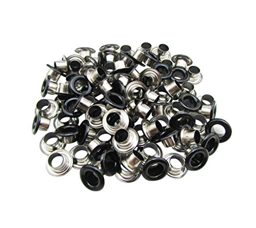 Eyelets Embellish - Amanaote 5mm Internal Hole Diameter Matte Black Eyelets Grommets with Washer Self Backing Pack of 150 Sets