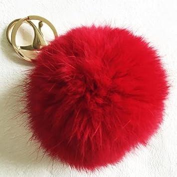 Wish Novelty Red Furry Fuzzy Pom Pom Keychain Balls - Jumbo 6 in - Cute  Backpack, Purse,