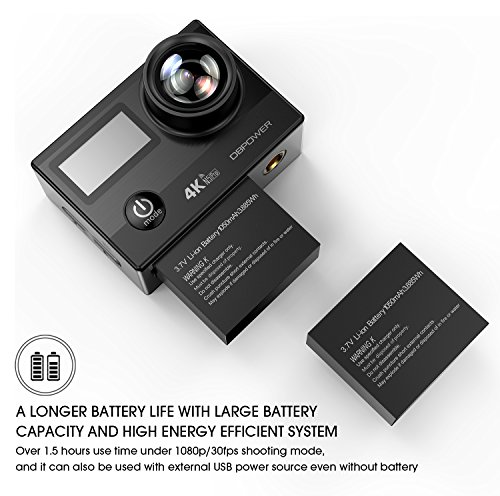 517hNw3iHxL - DBPOWER N5 Pro WiFi Action Camera 4K Ultra HD 20MP Sports Camera 30m Underwater Waterproof 170 Degree Adjustable Wide Angle Lens Camcorder with 2 Rechargeable Batteries and Mounting Accessories Kit