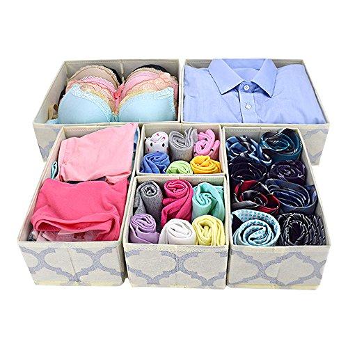 Homyfort Cloth Dresser Organizer Drawer Divider,Closet Storage Cubes Bins Boxes for Clothes, Underwear, Bras, Socks, Ties, Scarves, Set of 6 Beige