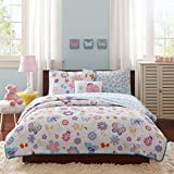 Mi Zone kids - Fluttering Farrah Complete Quilted Coverlet & Sheet Set - White, Blue, Purple - Full - Floral Print - Includes 1 Coverlet, 2 Pillowcases, 2 Shams, 1 Flat Sheet, 1 Pillow, 1 Fitted Sheet