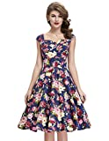 Search : Belle Poque 50s Style Vintage Dresses Sweetheart Neck BP105 (Multi-Colored)
