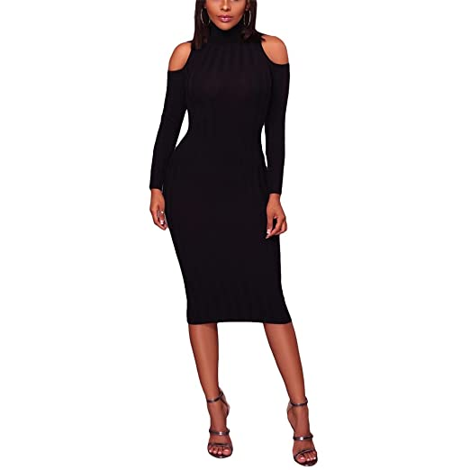 ee7405ac6343 Women s Sexy Turtleneck Cold Shoulder Bodycon Pencil Knitted Sweater Midi  Dress Black S