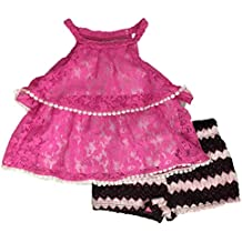 Infant Girls Pink & Black Lace Baby Outfit Shirt & Shorts Set
