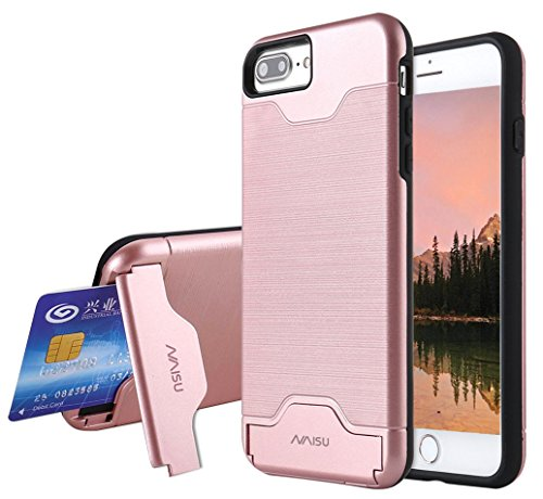 iPhone 7 Plus Case, NAISU Card Slot Holder Kickstand Dual Layer Hybrid Protective Case with Brush Finish Back Cover for Apple iPhone 7 Plus (5.5 Inch)-Rose Gold