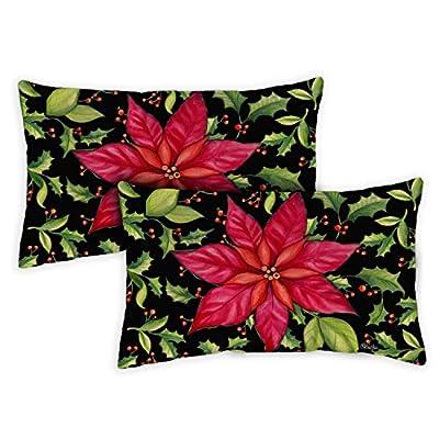 Toland Home Garden 771248 Poinsettia 12 x 19 Inch Indoor/Outdoor, Pillow Case (2-Pack) : Garden & Outdoor