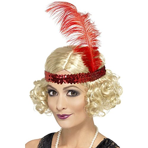 Smiffy's Women's Short and Curly Charleston Flapper Wig with Sequin Headband, One Size, (Curly Flapper Wig With Headband)