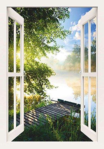 Artland Qualitätsbilder I Bild auf Leinwand Leinwandbilder Wandbilder 70 x 100 cm Landschaften Gewässer Foto Grün C8UR Angelsteg am Fluss am Morgen Fensterblick