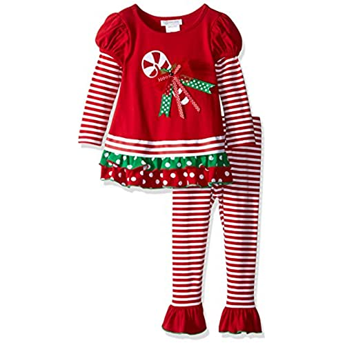 bonnie jean little girls toddler candy cane legging set red 4t