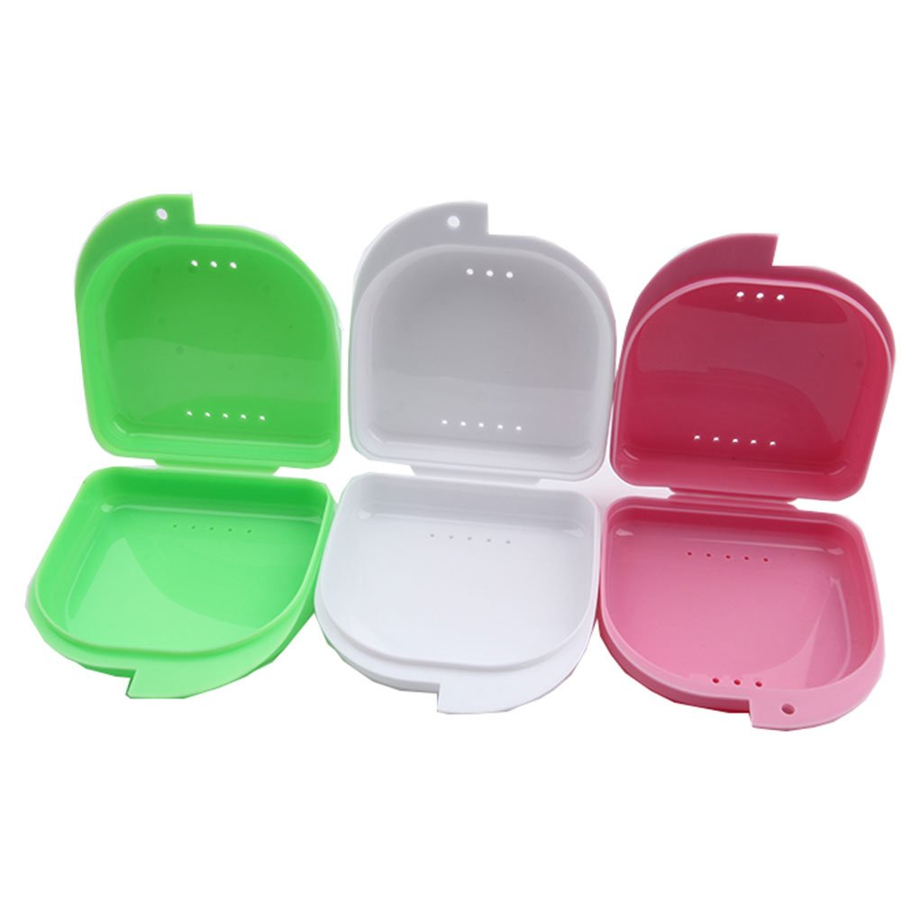 3 pieces Dental Retainer Orthodontic Mouthguard Denture Storage Cases Box Tray Only Dental
