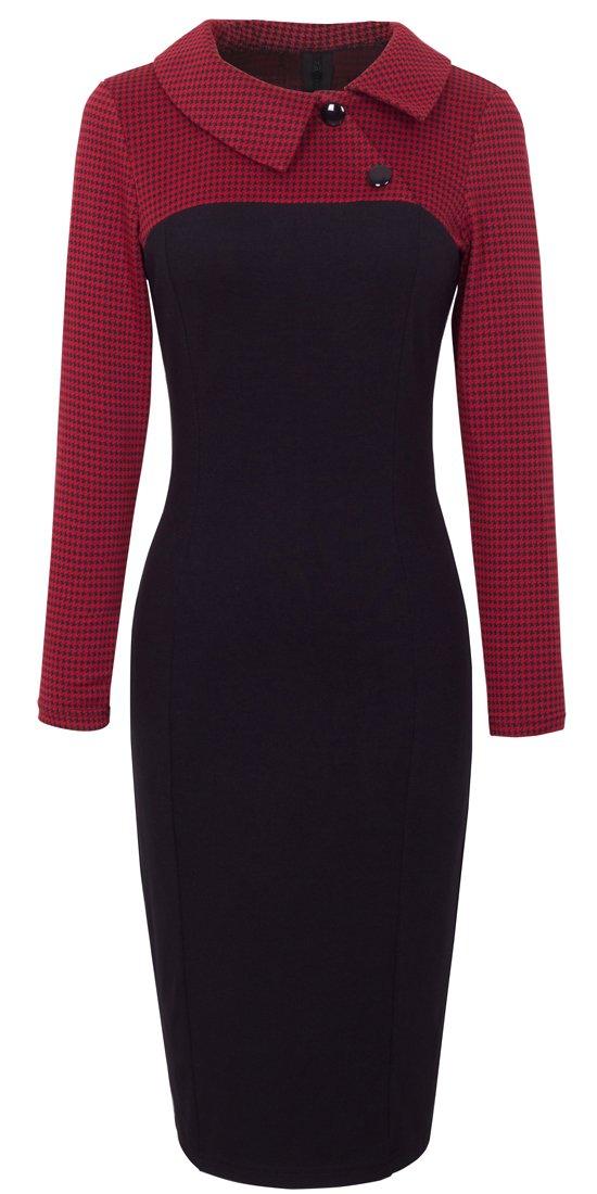 HOMEYEE Women's Retro Chic Colorblock Lapel Career Tunic Dress B238 (M, Red) by HOMEYEE