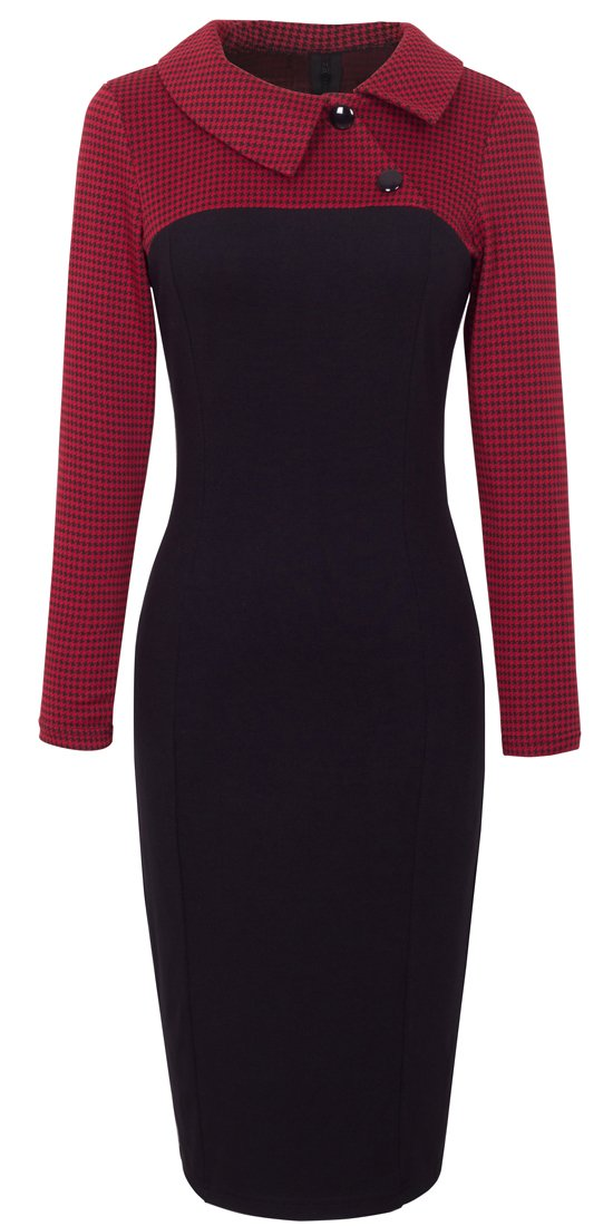 HOMEYEE Women's Retro Chic Colorblock Lapel Career Tunic Dress B238 (M, Red)