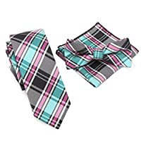 Shindek Plaid Skinny Tie Set Necktie And Matching Color Handkerchief And Bow Tie