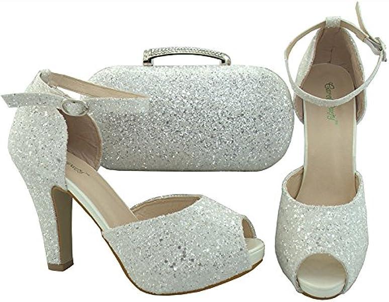 627ee7559 Bolso y Zapatos a Juego para Mujer, Bodas y Fiestas. Clutch y Zapato  Italiano en Color Blanco Brillante
