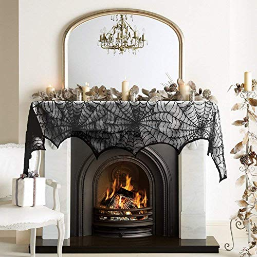 Bealife Lace Fireplace, 18 x 98 Inch Halloween Lace Spiderweb Fireplace Mantle Scarf Cover with 3D Bloody Handprints and Face Tattoos Stickers for Halloween Vampire Zombie Party Home Decorations