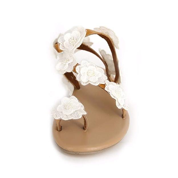 YWLINK Damen Sommer Mode Zehensandale Strand Pantoffeln Elegant Blume Applikation Sandalen Flip Flops Open Toe Rom Sandalen